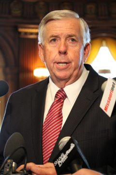 Gov. Mike Parson takes questions from the media before a Cabinet meeting on June 4, 2018. (ALISHA SHURR/THE MISSOURI TIMES).